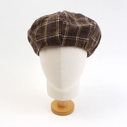 Retro Check Brown Wool Beret 체크베레모