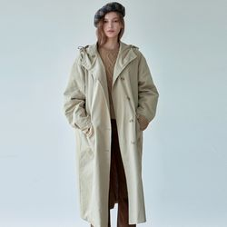 COTTON HOODY TRENCH COAT [SAND BEIGE]