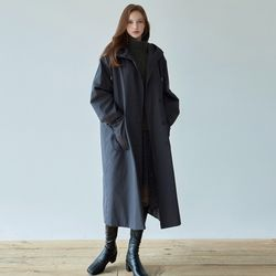 COTTON HOODY TRENCH COAT [CHARCOAL NAVY]