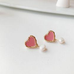 분홍 하트 진주 귀걸이