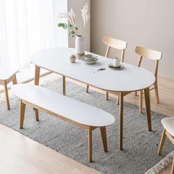 코지  타원형 식탁 1600 (식탁1P + 2.5인벤치 1P)