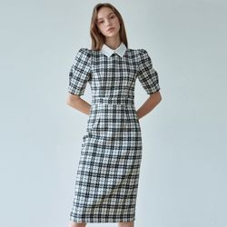 TWEED CHECK PUFF OPS [IVORY]