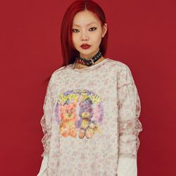 NEONMOON 20FW Sheer Small Flower T-Shirt