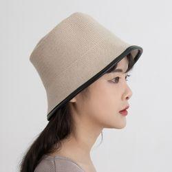 P9309 레더 포인트 니트 벙거지 모자(5color)