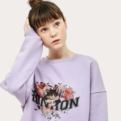 FLOWER CAT SWEATSHIRT PURPLE
