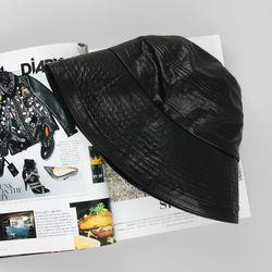 [베네]레더 벙거지 모자