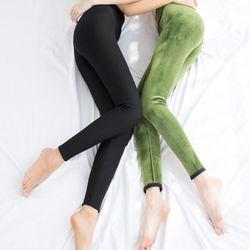 따뜻한 보온 융털 기모 겨울 레깅스 블랙