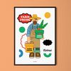 팜 프레시 M 유니크 디자인 포스터 과일 채소 A3(중형)