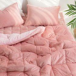 테라 핑크 극세사 차렵이불 - 160x210cm