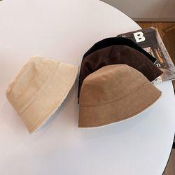 코듀로이 다운 챙 양털 버킷햇 모자 골덴 무지 벙거지