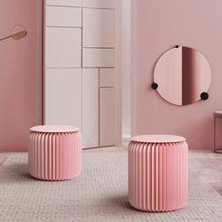 디자인스툴 협탁 접이식의자 접이식테이블 감성캠핑 42cm 핑크