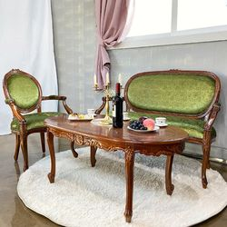 엔틱가구 로코코 그린 의자 테이블 세트 인테리어의자