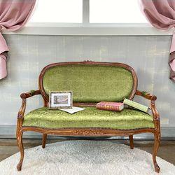 엔틱가구 로코코 그린 2인 의자 인테리어의자