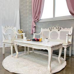 엔틱가구 화이트 리본 라탄의자&라벤더 테이블 세트