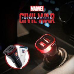 마블 시빌워 듀얼 USB포트 차량용 충전기