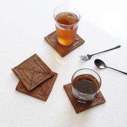 라탄 사각 컵받침- 1p