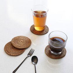 라탄 원형 컵받침- 1p