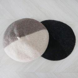 투톤 배색 울 베레모 (2color)