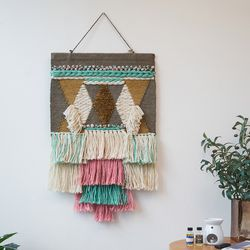 민트 핑크 패치 주트 월행잉 마크라메 벽장식