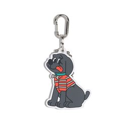 Country Dog Rubber Key Ring Black