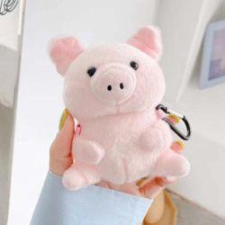 에어팟1/2/프로 귀여운 돼지 인형 털 케이스/키링고리