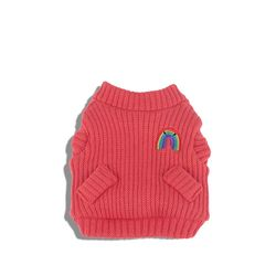Rainbow Knit Cardigan Indian Red