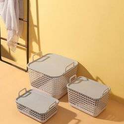 모던 메쉬 수납 덮개 바구니 중형 1개(랜덤)