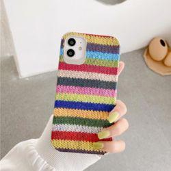 아이폰11 PRO MAX XR XS SE2 8 레인보우 뜨개 케이스