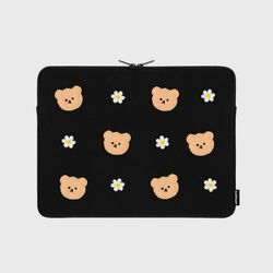 Dot flower bear-black-13inch notebook pouch