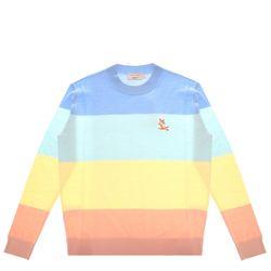 [메종키츠네]레인보우 파스텔 스트라이프 폭스 풀오버 셔츠