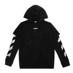 [오프화이트]블랙 에어포트 테이프 남성 반팔 후드 티셔츠