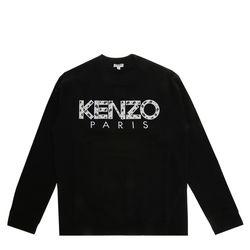 [겐조] 블랙 클래식 로고 남성 스웨트셔츠