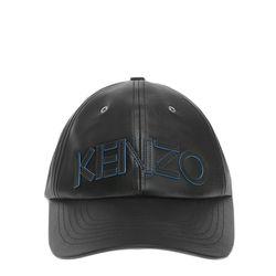 [겐조]블랙 블루 포인트 로고 레더 버튼 볼캡 모자