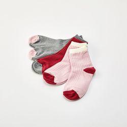 핑크 골지 발목 양말 5P세트 4~6세