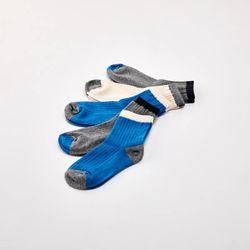 블루 골지 발목 양말 5P세트 4~6세