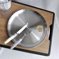 캠핑 스텐 원형 접시(특대) 국내생산 2p