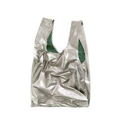 [바쿠백] 휴대용 장바구니 접이식 시장가방 Pewter Metallic