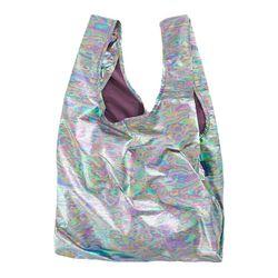 [바쿠백] 휴대용 장바구니 접이식 시장가방 Rainbow Metallic