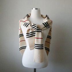 스트라이프 어깨 숄 가디건 니트 머플러 (2color)