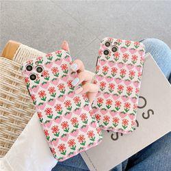 도트 딸기 플라워 패턴 카메라보호 아이폰케이스