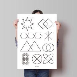 수학왕 M 유니크 디자인 인테리어 포스터 학원 공부 A3(중형)