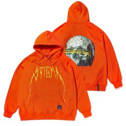20 SKULL OVERSIZED HEAVY SWEAT HOODIE ORANGE