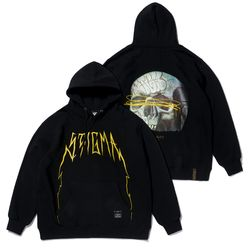 20 SKULL OVERSIZED HEAVY SWEAT HOODIE BLACK