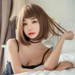 키밍 여자 단발 통가발 패션 앞머리 염색 자연스럽게