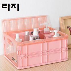 키밍 핑크 접이식 플라스틱 칼러수납함