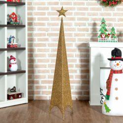 스팽글 크리스마스장식(골드 삼각뿔) (155cm)