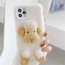 아이폰11 PRO SE2 XS 8 7 입체 뽀글양 겨울 털 패브릭
