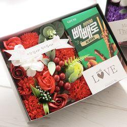플라워빼로박스(레드) 막대과자 수능 과자 초콜릿선물