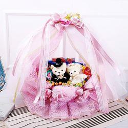 웨딩바구니(핑크) 막대과자 수능 과자 초콜릿 선물