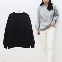 무지 라운드 기모 여성 맨투맨 티셔츠 블랙 차콜